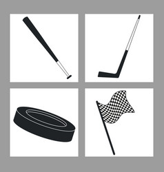 Set sport equipment black and white vector