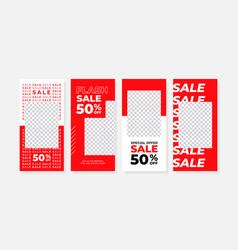 Set stories sale banner background vector