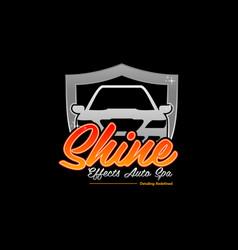 shine auto car creative shield business logo vector image