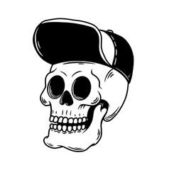 skateboarder skull in cap design element for logo vector image