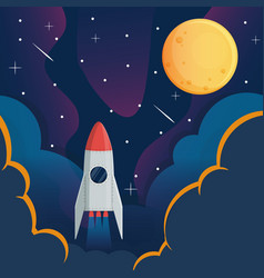 spaceship and moon in space galaxy background vector image