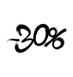Sprayed -30 percent graffiti with overspray in vector
