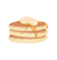 stack of pancake with banana and sauce cartoon vector image