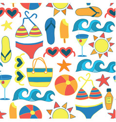 Summer sunbathing beach items flat seamless vector