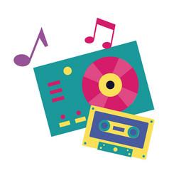 turntable vinyl record vinyl cassette music vector image