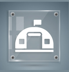 White military barracks station icon isolated vector