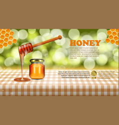 Wild flower honey glass jar filled with stick on vector