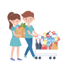 Woman and man shopping with cart bag and products vector
