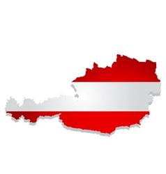 austria flag map vector image vector image