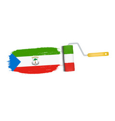 brush stroke with equatorial guinea national flag vector image vector image