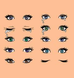 Cartoon pop art female eyes vector
