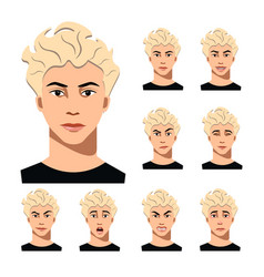man face with different emotions vector image vector image