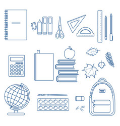 set of school items vector image