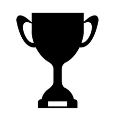 Silhouette monochrome trophy cup with plate vector