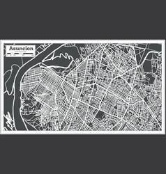 asuncion paraguay city map in retro style outline vector image vector image