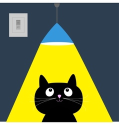 Black cat and ceiling light lamp Yellow ray of vector image vector image