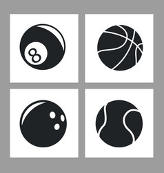 collection balls sport icons black and white vector image