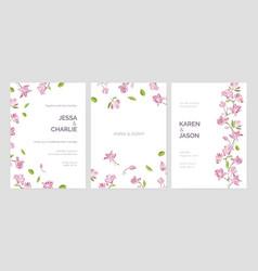 set of beautiful wedding party invitation vector image vector image