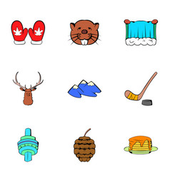 canadian maple icons set cartoon style vector image