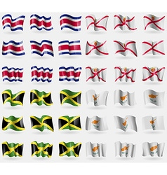 Costa Rica Jersey Jamaica Cyprus Set of 36 flags vector image