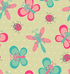 Cute bugs background vector image vector image