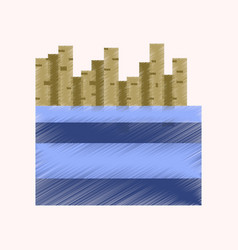 flat shading style icon pixel french fries vector image vector image