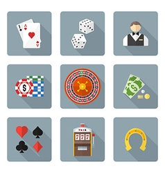Flat style colored various gambling icons vector