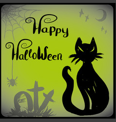 halloween with black cat vector image