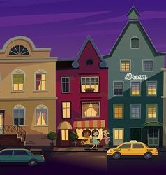 Happy people walking around City street at Night vector image