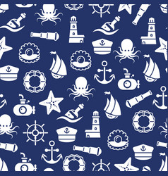 Ocean or sea seamless pattern with anchor boat vector