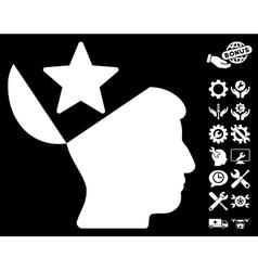 Open Head Star Icon with Tools Bonus vector image