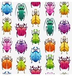 Seamless pattern with funny cartoon colorful bugs vector image