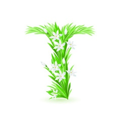 spring flowers alphabet t vector image vector image