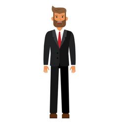 standing bearded businesman in black suti cartoon vector image