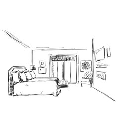 bedroom interior sketch hand drawn furniture vector image