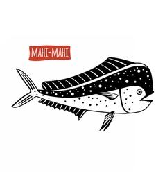Mahi-mahi black and white vector image vector image