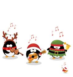 Penguins Playing Christmas Music vector image