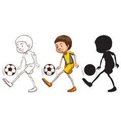 Sketches of a soccer player in different colors vector image