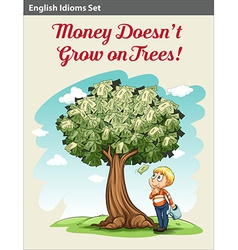 A boy under the money tree vector image