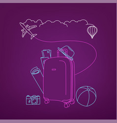 Around world concept with bag travel vector
