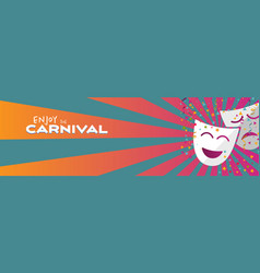 Banner enjoy carnival masks with confetti and vector