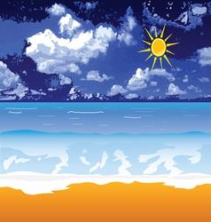 Beach with sun and cloud vector