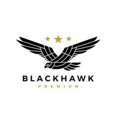 black hawk eagle flying roar star logo icon vector image
