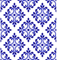 Blue and white tile pattern seamless vector