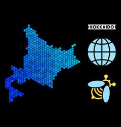 Blue hexagon hokkaido island map vector