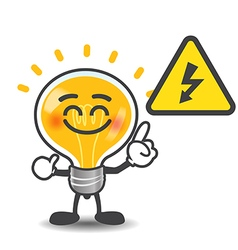 Bulb lamp cartoon pointing to electric power volt vector image