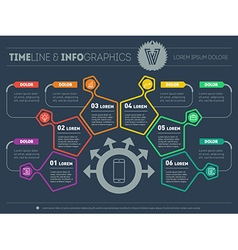 Business plan with six steps infographic vector