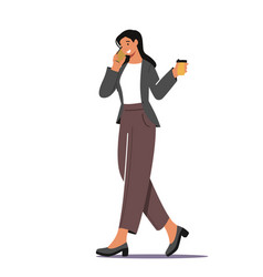 Business woman morning takeaway drink refreshment vector