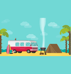 caravan trailer camping in flat style vector image