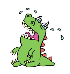 cartoon crying dinosaur vector image